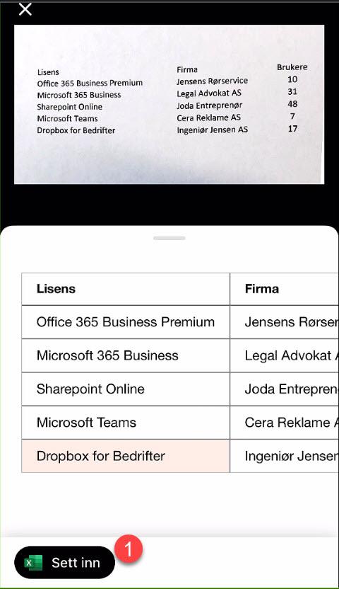 Sett inn Excel regneark fra papir med bildet på mobilen 5