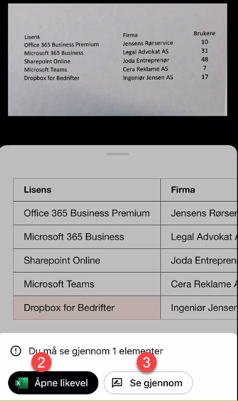 Sett inn Excel regneark fra papir med bildet på mobilen 6