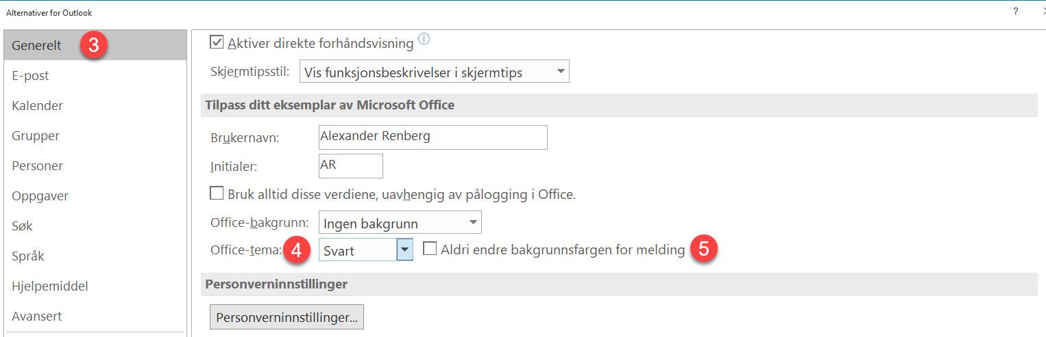 Slik bruker du forbedret dark mode i Outlook 3