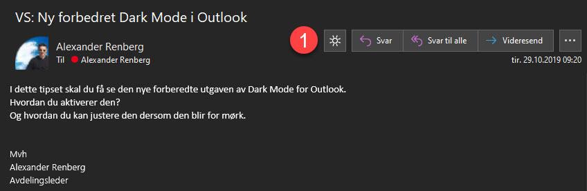 Slik bruker du forbedret dark mode i Outlook 4