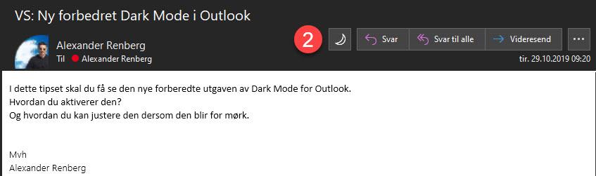 Slik bruker du forbedret dark mode i Outlook 5