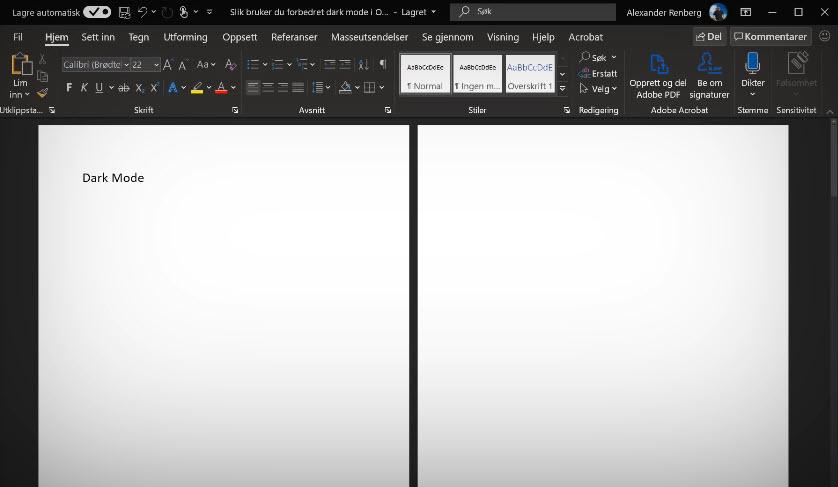 Slik bruker du forbedret dark mode i Outlook 8