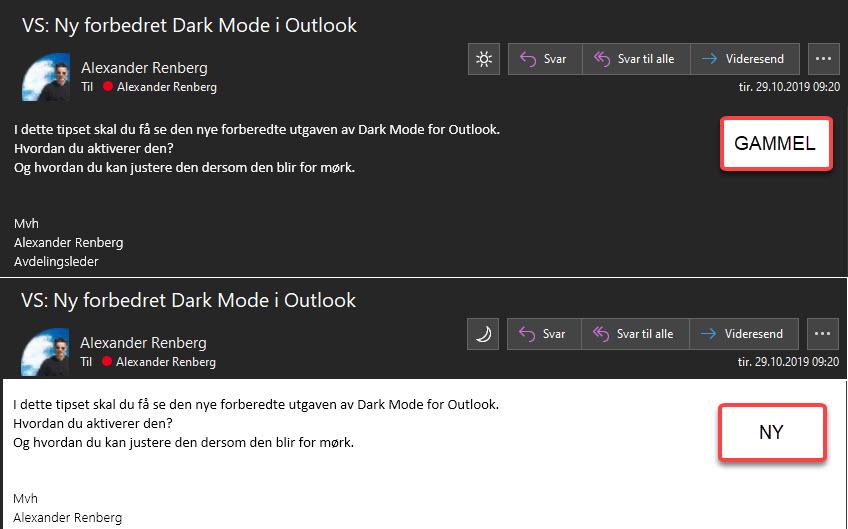 Slik bruker du forbedret dark mode i Outlook 9
