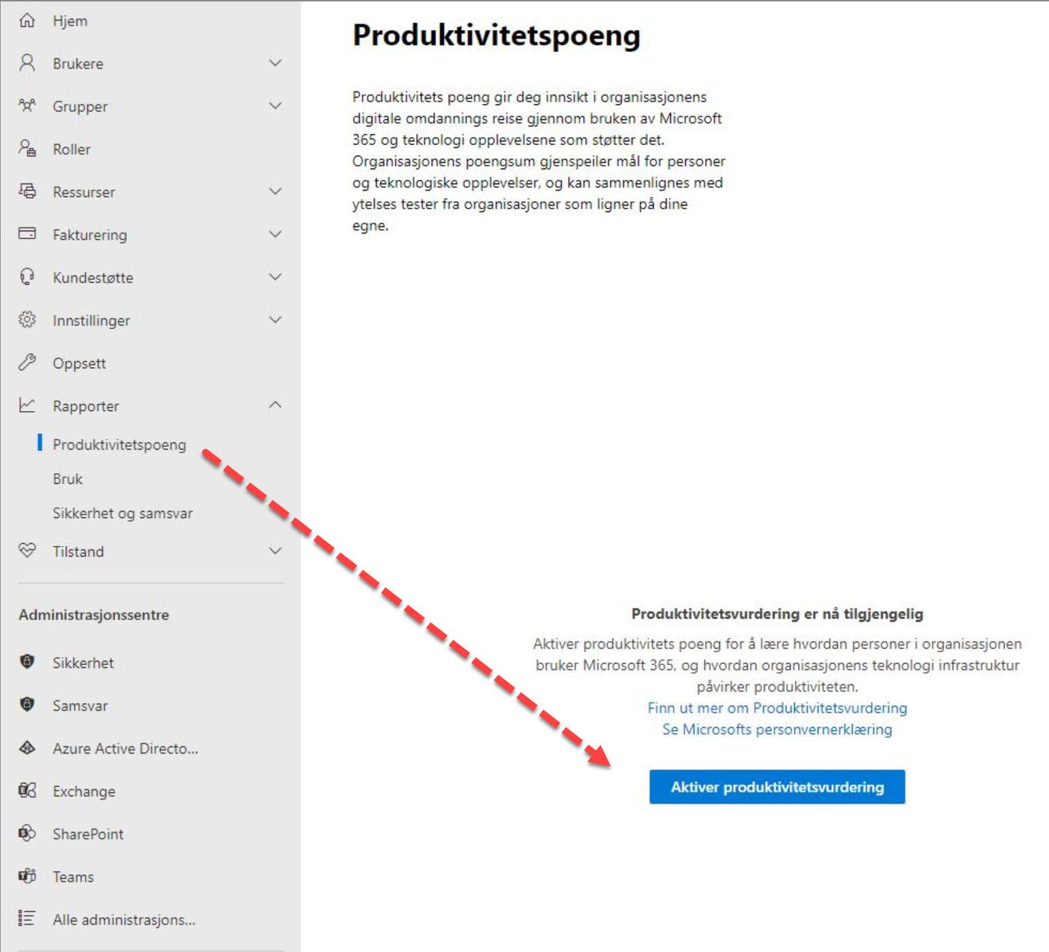 Hvordan bruke Microsoft 365 produktivitets score