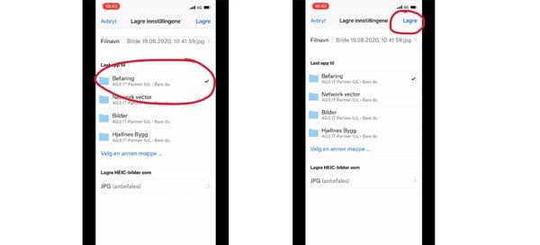 Hvordan lagre bilder i Dropbox for Bedrifter med mobilen 3