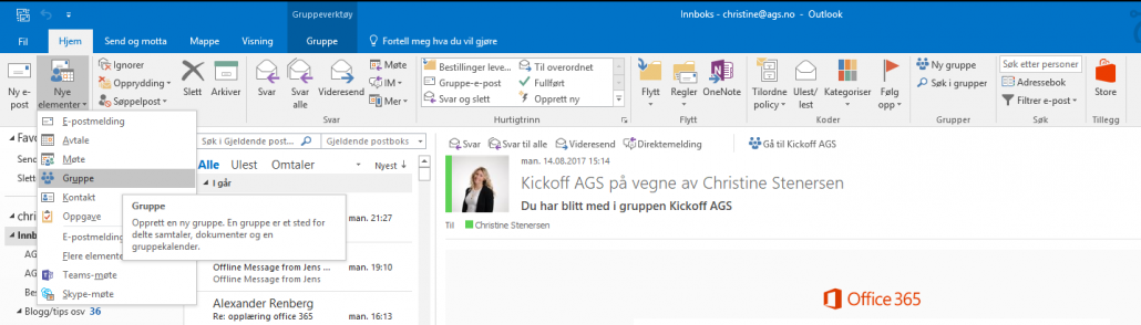 Outlook grupper