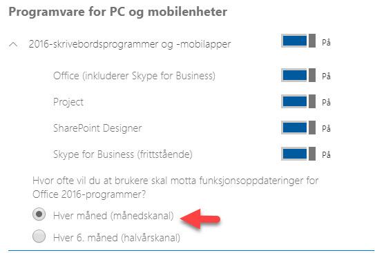 Endre på oppdatering av Office 365