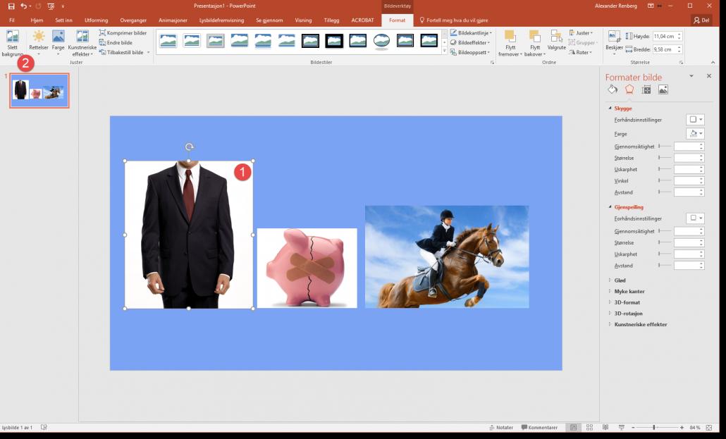Fjerne bakgrunn på bilder i Powerpoint