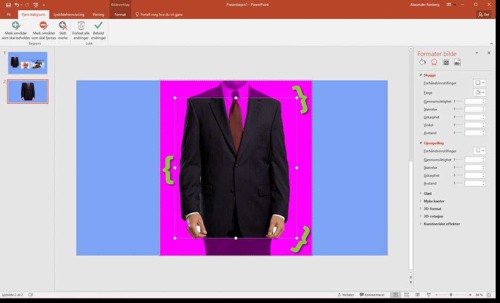 Fjerne bakgrunn på bilder i Powerpoint 2