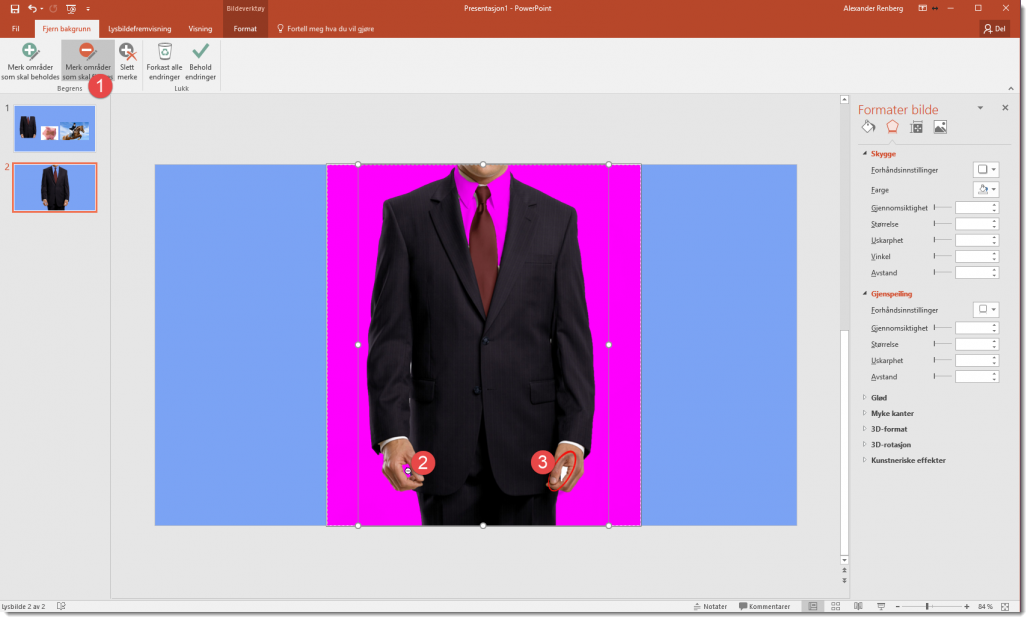Fjerne bakgrunn på bilder i Powerpoint 3