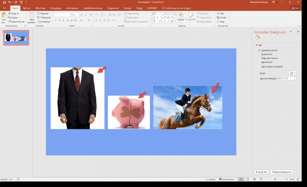 Fjerne bakgrunn på bilder i Powerpoint intro