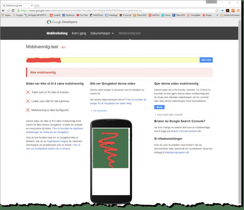 Google ikke mobilvennlig