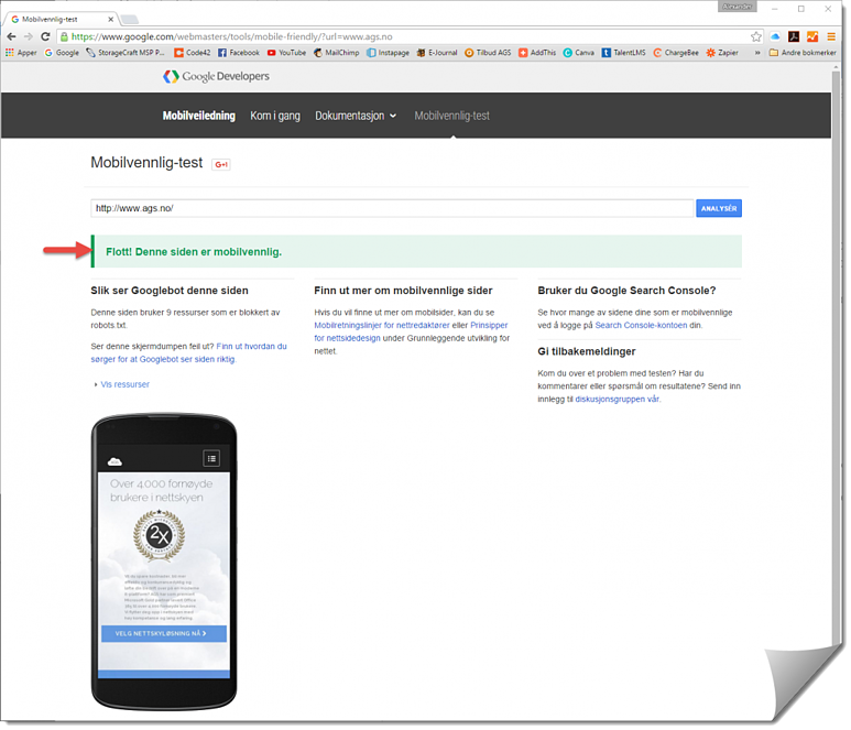 Google mobilvennlig analyse 2