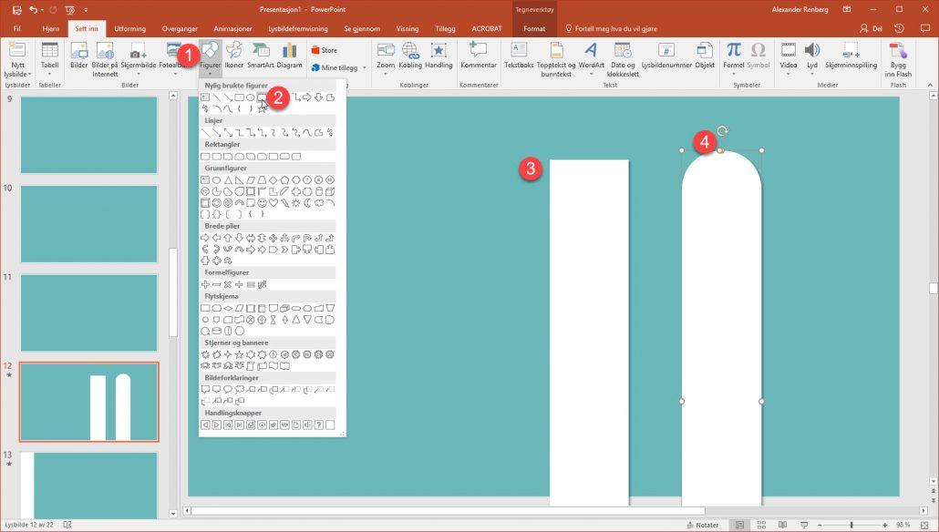 Hordan lage en stilig overgang i Powerpoint med rektangler