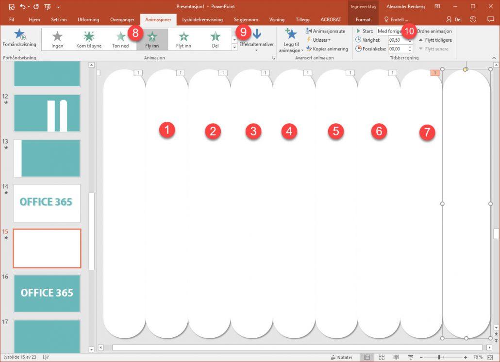 Klipp og lim Nå skal du lage flere av de samme rektanglene. Lag en kopi av rektangelet med ved å kopiere og lime in. Og plasser den nye figuren ved siden av det forrige rektangelet. Slik som du ser på illustrasjonen nedenfor. Marker og gå inn på effektalternativer igjen her oppe til høyre og velg at dette rektangelet skal fly inn fra bunnen. Husk på at denne animasjonen skal starte samtidige med forrige så her endrer du til med forrige. Nå gjentar du operasjonen helt til du har dekket hele lysbildet. Husk bare å endre Effektalternativet fra topp og bunn på annenhver figur.