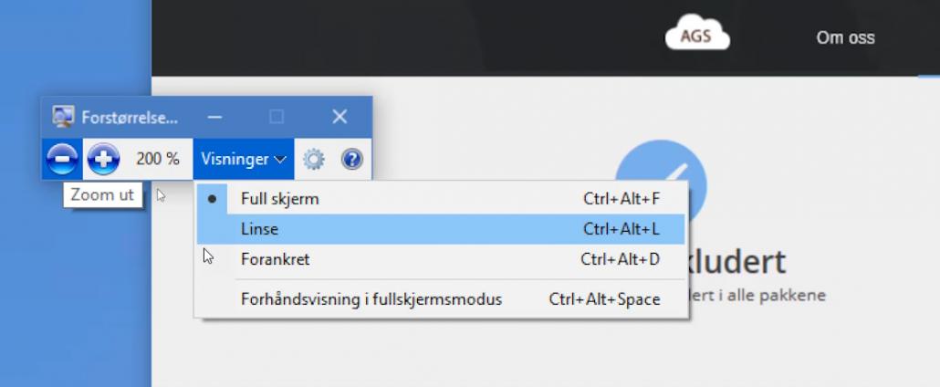 Hvordan bruke forstørrelsesglass i Windows 2