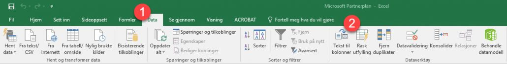 Hvordan bruke rask utfylling - Excel