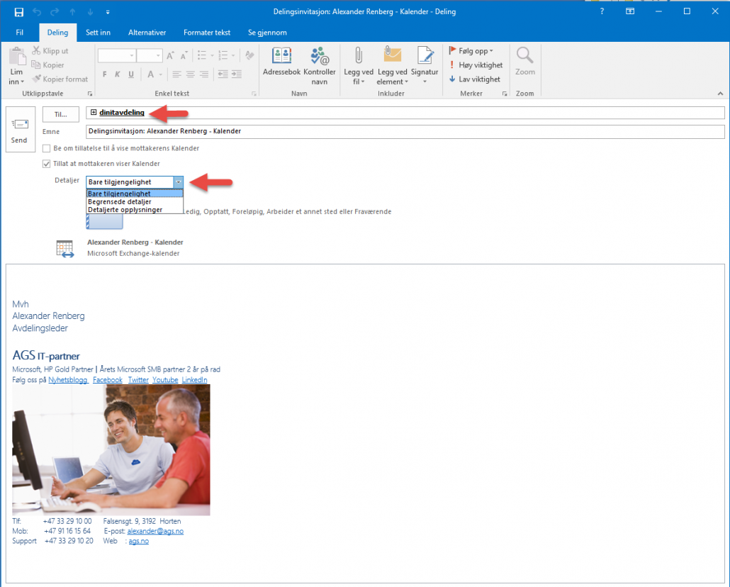 Hvordan dele kalenderen i Outlook 2