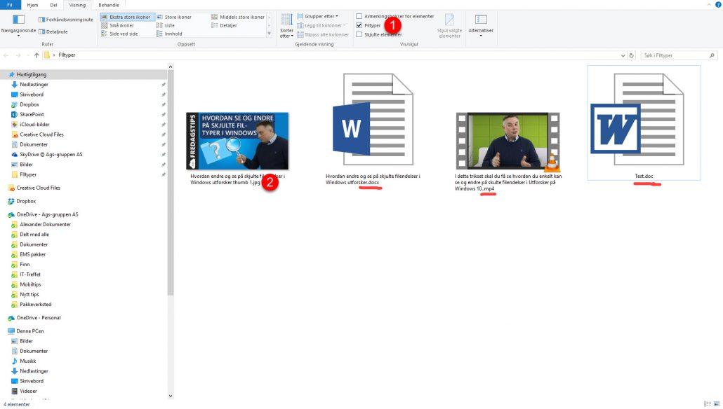 kjulte filendelser og filer i Windows Utforsker