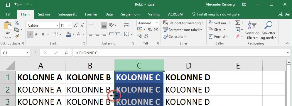 Hvordan flytte kolonner i Excel