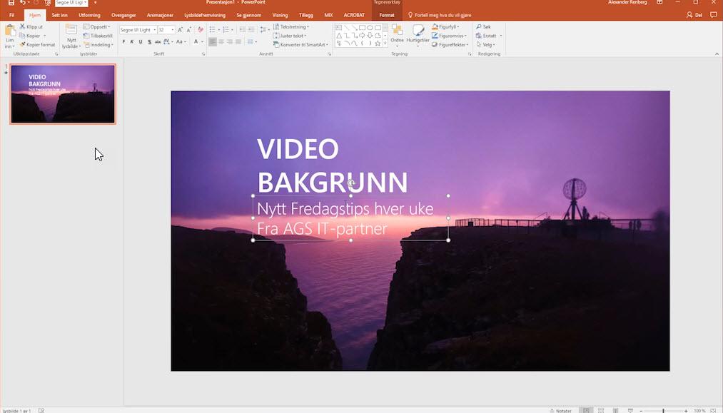 Hvordan lage en videobakgrunn i Powerpoint 4