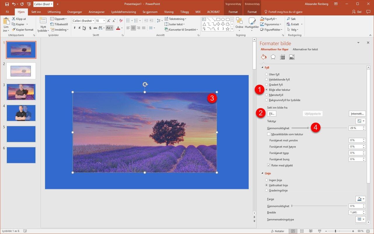 Hvordan lage et transparent bilde i Powerpoint