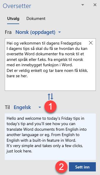 Hvordan oversette Word dokument