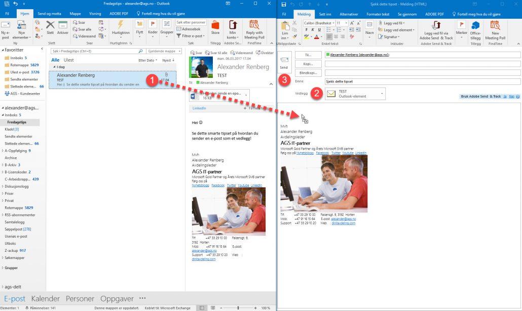 Hvordan sende en e-post som vedlegg i en annen epost 1