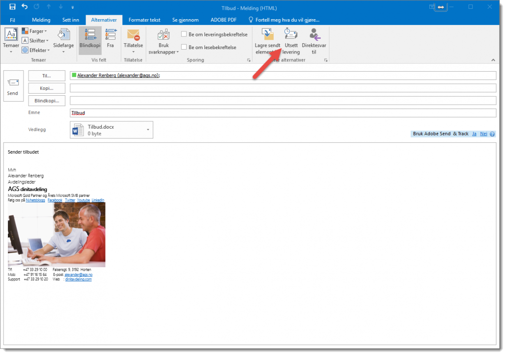 Hvordan sende en planlagt epost i Outlook 2