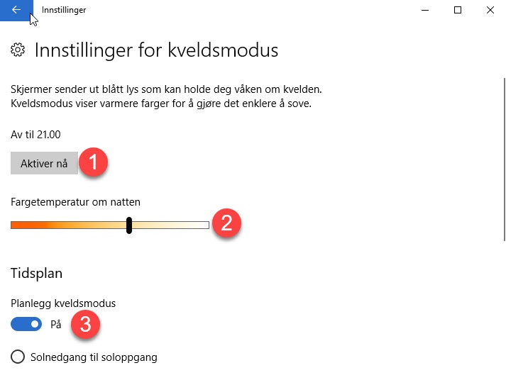 Hvordan sette opp kveldsmodus på Windows 10