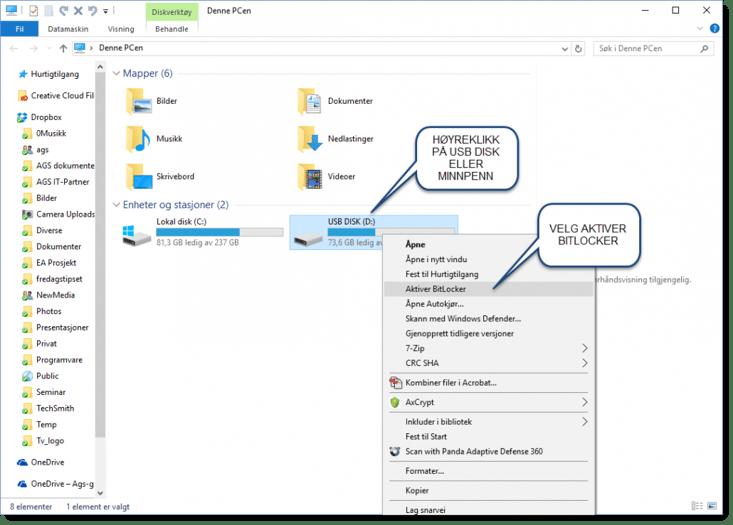 Krypter minnepinne eller USB disk i Wondows
