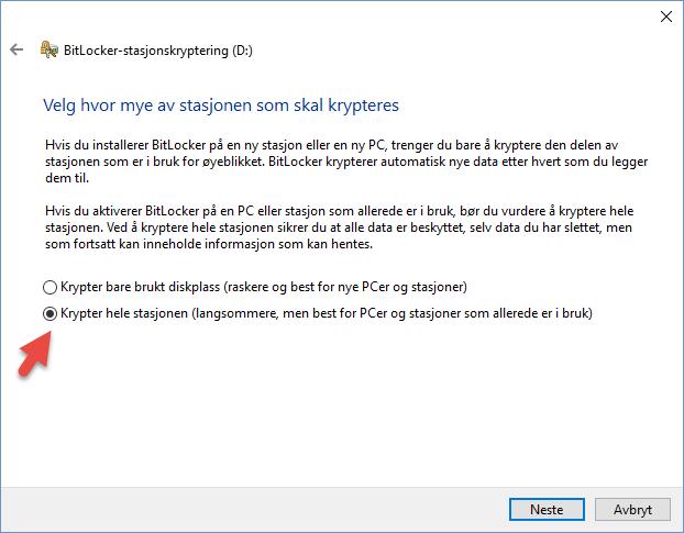 Kryptere Minnepienn eller USB disk i Windows