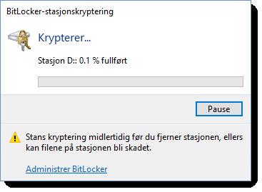 Kryptering av USB disk eller minnepinne