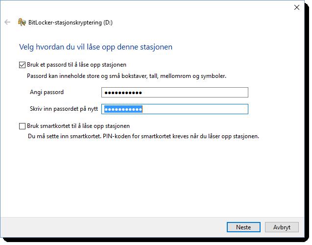 Kryptering av minnepenn eller USB disk i Windows