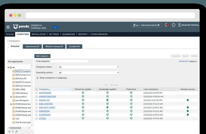 Full oversikt i webkonsollet til Panda Security