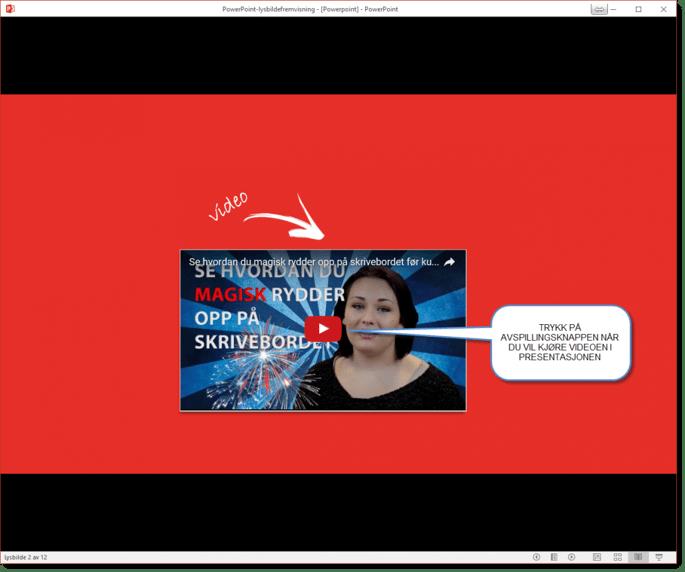 Sett inn Youtube Video i Powerpoint tips 6