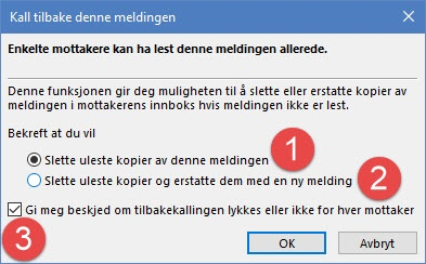 tilbakekalle e-post i Outlook