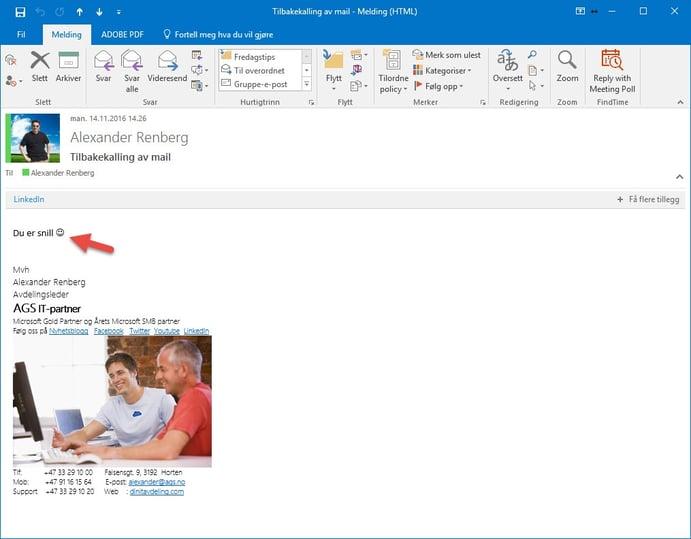 tilbakekalle e-post i Outlook