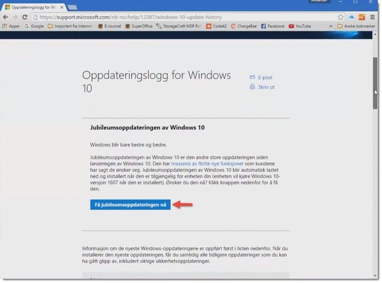 Hvordan installere Windows 10 anniversary update