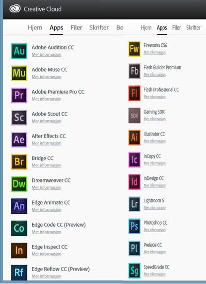 Programmer i Creative Cloud Pakken
