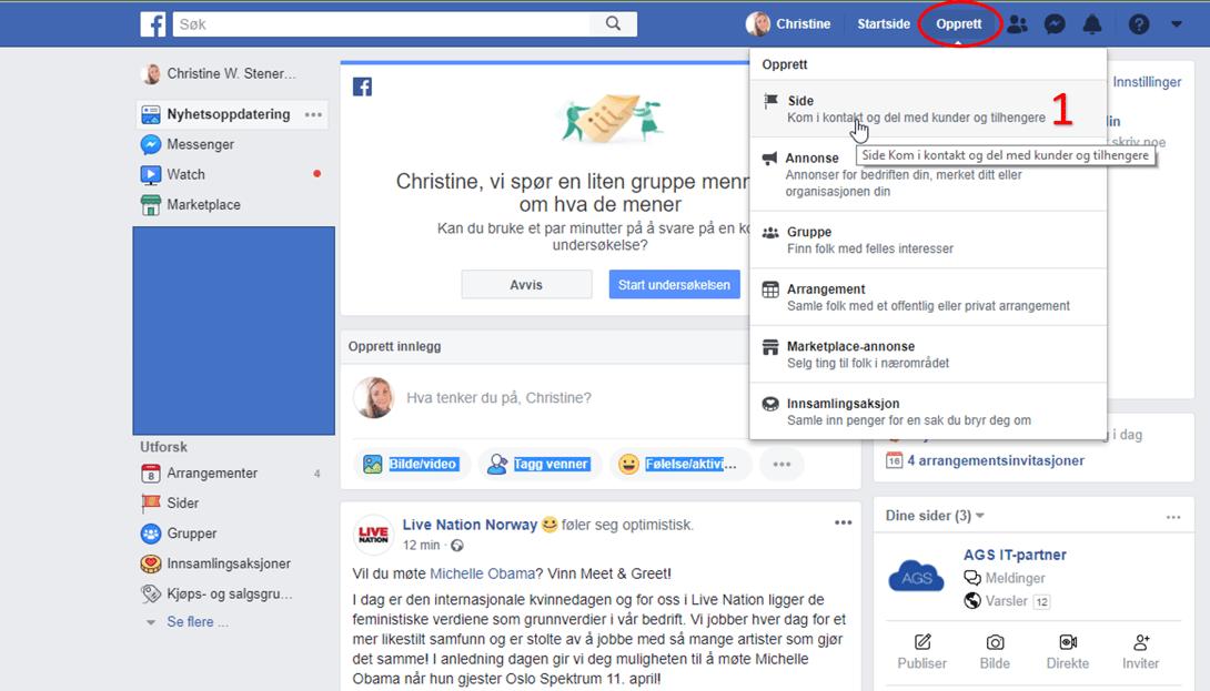 Opprett Facebook side for bedrift steg 1