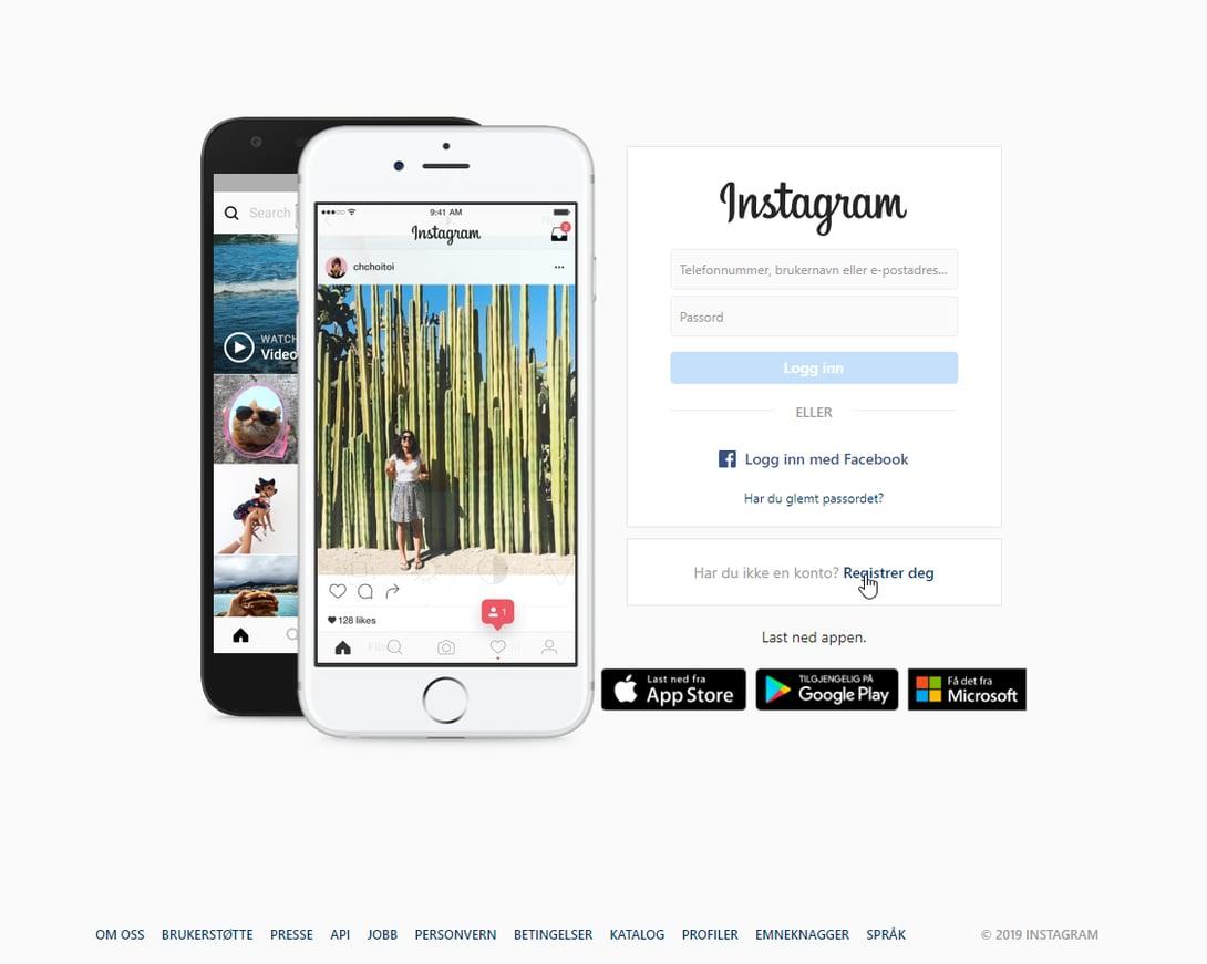 Opprett Instagram konto steg 1