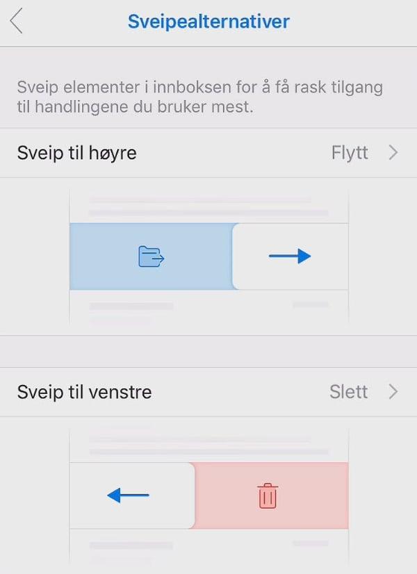 Slik bruker du Outlook sveipealternativer på mobilen 4