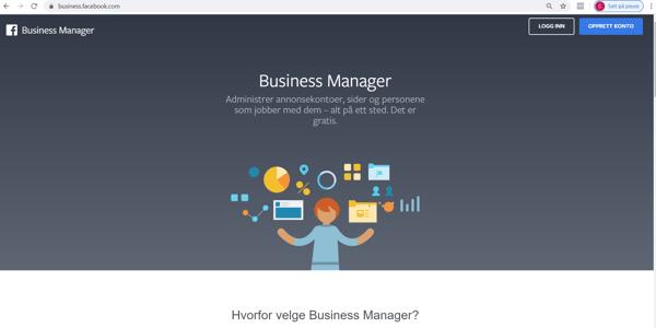 Startside Facebook Business Manager