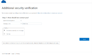 "Microsoft ""Additional security verification"" -  text message"