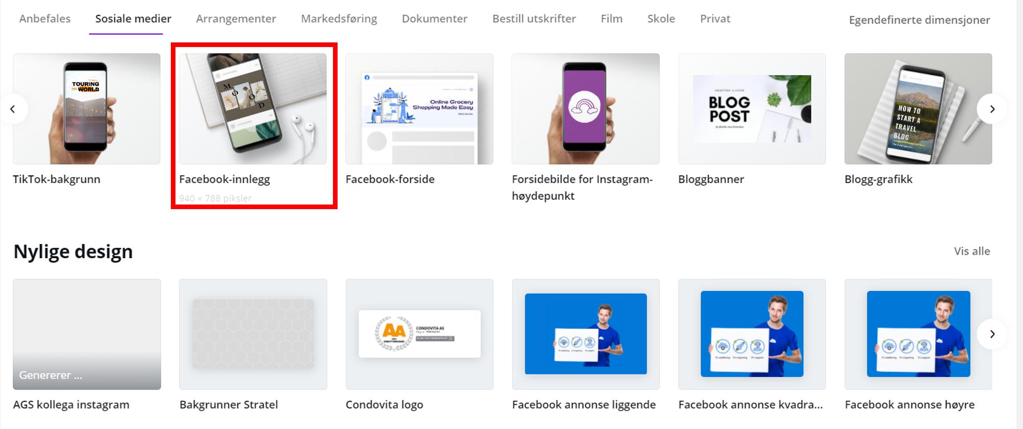 hvordan designe facebook innlegg canva