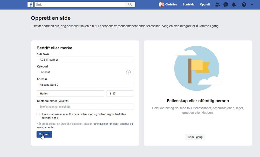 opprett side på Facebook steg 3