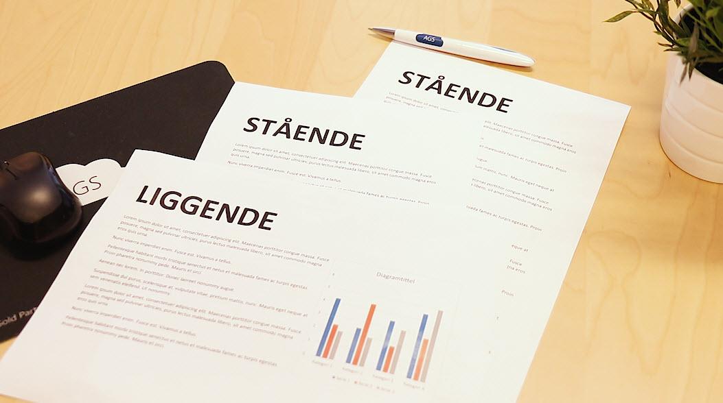 Hvordan bruke stående og liggende sider på samme dokument i Word