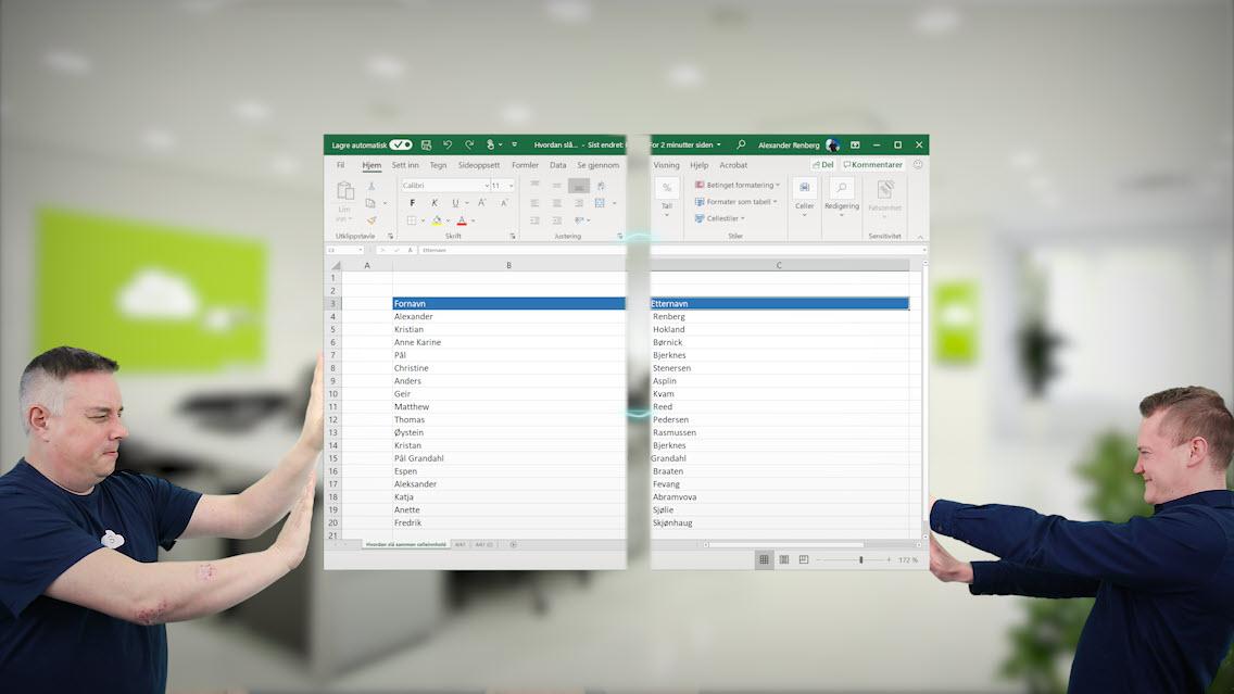 Hvordan slå sammen celleinnhold i Excel