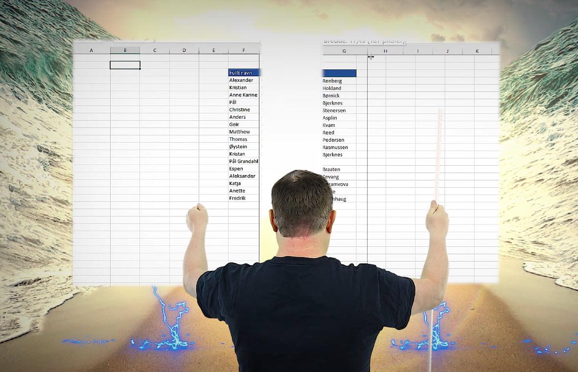 Hvordan splitte data inn i forskjellige kolonner i Excel